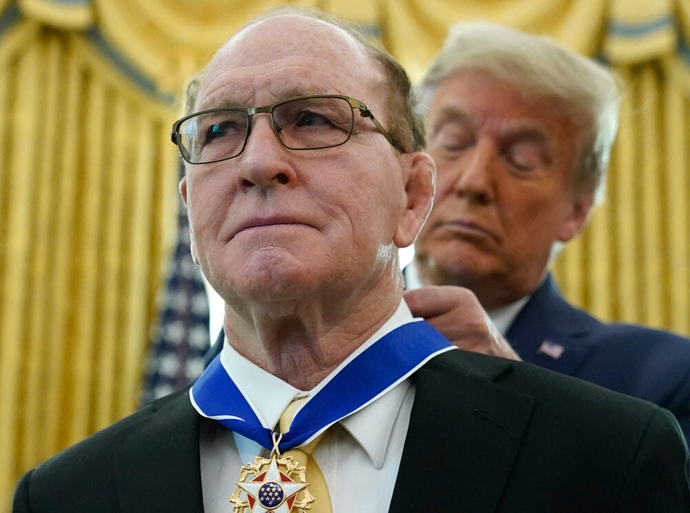 Dan Gable and President Donald Trump